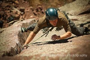 Leading a rock climb in Eldorado Canyon